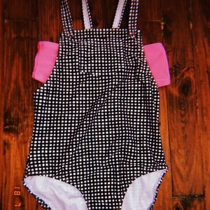 plaid black & white w/ pink, swimsuit for girls
